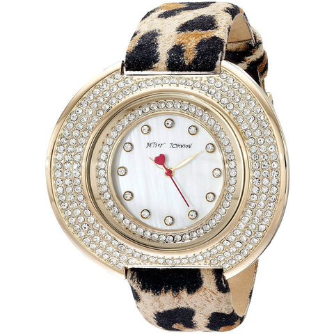 Betsey Johnson BJ00486-02 Women's Analog Display Quartz Watch - Leopard Printed Leather Strap - Round 50mm Case