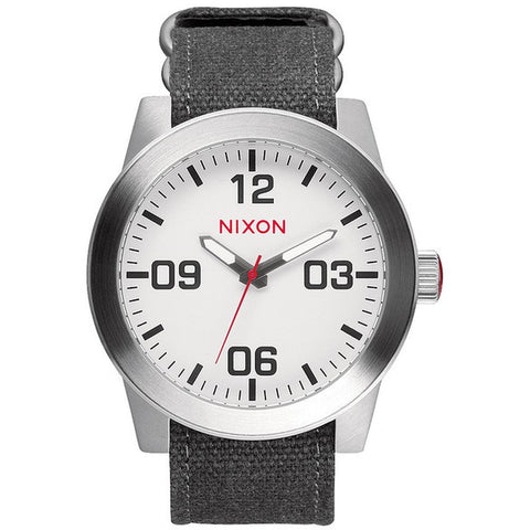 Nixon A243100-00 Men's Corporal White Analog Watch, Grey Canvas Band, Round 48mm Case