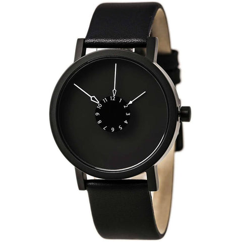 Projects 7265B Nadir Analog Display Quartz Watch, Black Leather Band, Round 40mm Case