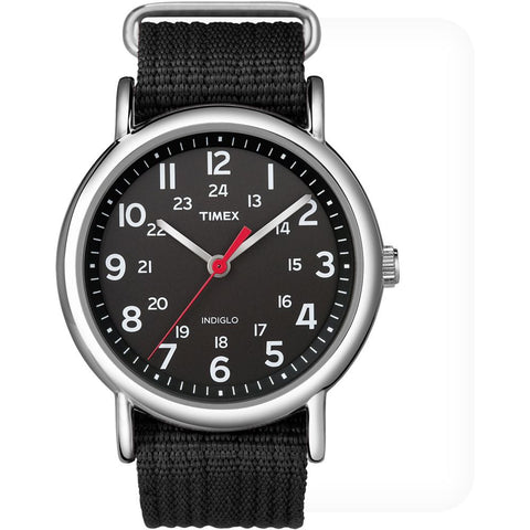 Timex T2N647 Weekender Slip Thru Analog Display Quartz Watch, Black Nylon Band, Round 38mm Case