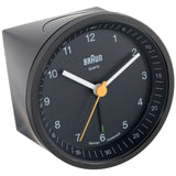 Braun BNC007BKBK Classic Analog Display German Quartz Alarm Clock, Round 80mm Case, Black