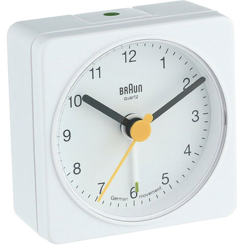 Braun BNC002WHWH Classic Analog Display Quartz Alarm Clock, White Square Case