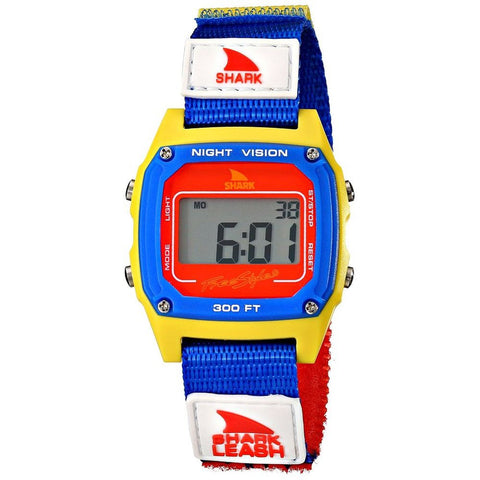 Freestyle Unisex 102243 Shark Leash Yellow Digital Watch, Multicolor Nylon Velcro Band, Square 38mm Case