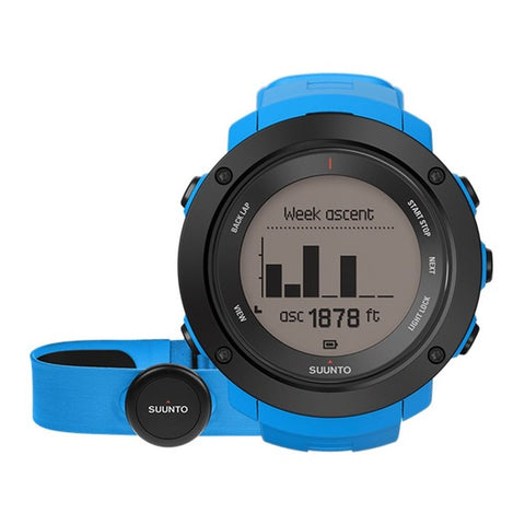 Suunto SS021968000 Ambit3 Vertical (HR) Digital Display Quartz Men's Watch, Blue Silicone Band, Round 50mm Case