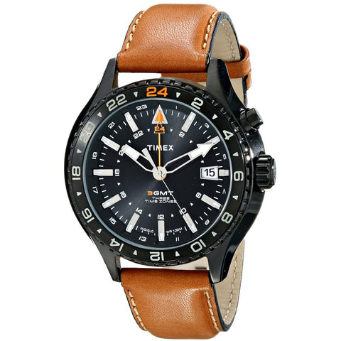 Timex T2P427DH Men's Intelligent Analog Display Quartz Watch, Brown Leather Band, Round 42mm Case