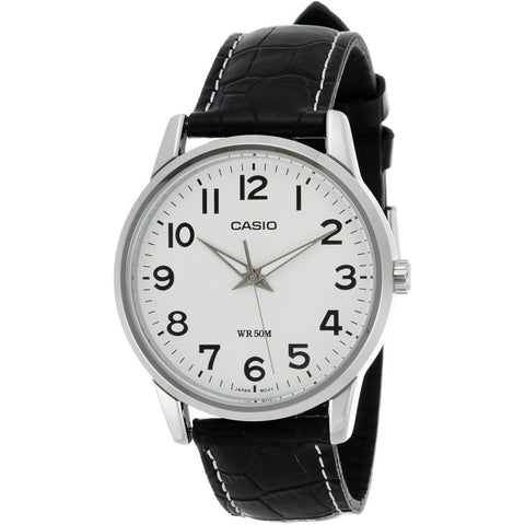 Casio MTP-1303L-7BVDF Men's Classic Silver Analog Display Quartz Watch, Black Leather Band, Round 40mm Case