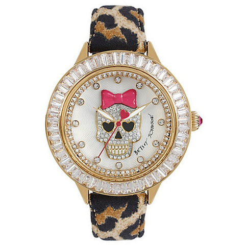 Betsey Johnson BJ00358-13 Women's Analog Display Quartz Watch, Leopard Print Leather Band, Round 45mm Case