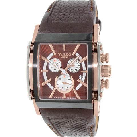 MULCO MW129785135 Nefesh Men's Analog Display Swiss Quartz Watch, Brown Leather Band, Square 45mm Case