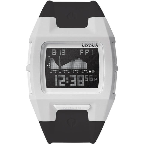 Nixon A289127 Men's Lodown II White/Black Digital Watch, Black Polyurethane Band, Square 43mm Case