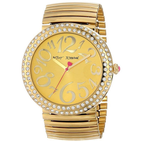Betsey Johnson BJ00214-03 Women's Analog Display Quartz Watch, Gold Stainless Steel Band, Round 48mm Case