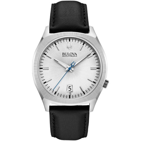 Bulova 96B213 Accutron II Surveyor Collection Analog Display Quartz Watch, Black Leather Band, Round 41mm Case