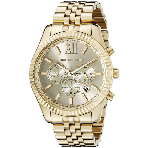 Michael Kors MK8281 Lexington Analog Display Chronograph Quartz Watch, Gold Stainless Steel Band, Round 45mm Case