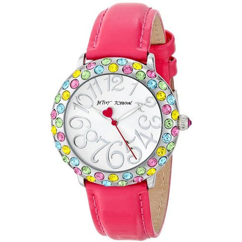 Betsey Johnson BJ00307-02 Women's Analog Display Quartz Watch, Pink Leather Band, Round 38mm Case