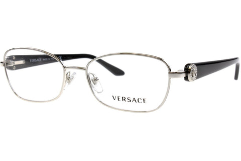 Versace VE 1210BM 1000 Eyeglasses, Silver Frame, Clear 52mm Lenses