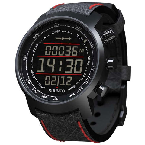 Suunto SS019171000 Elementum Terra Black/Red Leather Digital Display Quartz Watch, Black/Red Leather Band, Round 51.5mm Case