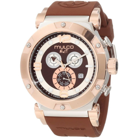 Mulco Unisex MW5-1623-033 Nuit Track Analog Watch, Brown Silicone Band, Round 47mm Case