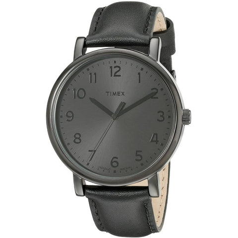 Timex T2N346 Originals Classic Round Analog Display Quartz Watch, Black Leather Band, Round 42mm Case
