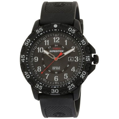 Timex T49994 Expedition Rugged Men's Analog Display Quartz Watch, Black Resin Band, Round 44mm Case