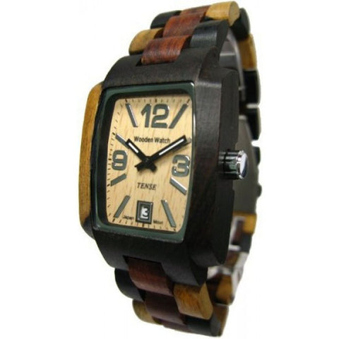 Tense J8102IDMQ Timber Men's Analog Display Quartz Watch, Dark Dual-tone Sandalwood Band, Rectangle 35mm Case