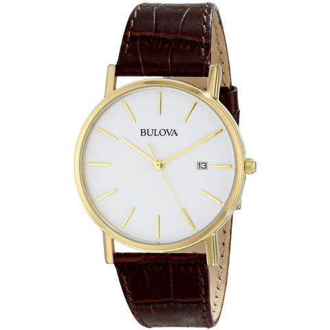 Bulova 97B100 Classic Analog Display Quartz Watch, Brown Leather Band, Round 37mm Case