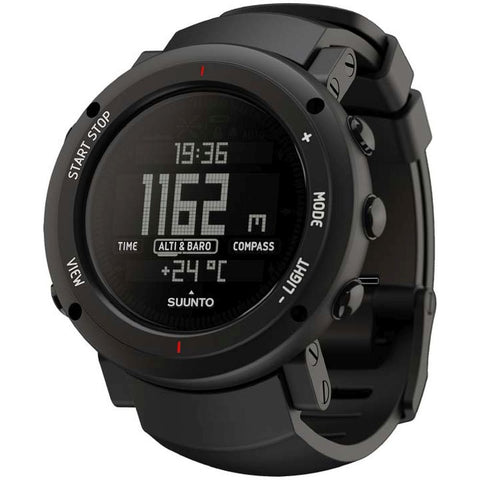 Suunto SS018734000 Core Alu Deep Black Digital Display Quartz Watch, Black Silicone Band, Round 49.1mm Case