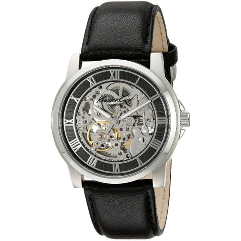 Kenneth Cole KC1514 Automatic Men's Analog Watch, Black Leather Band, Round 42mm Case
