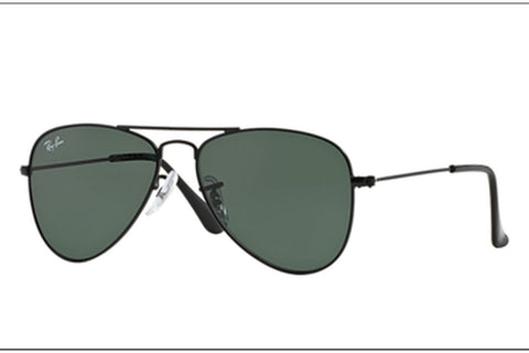 Ray-Ban RJ9506S 201/71 Aviator Junior Sunglasses, Black Frame, Green 50mm Lenses
