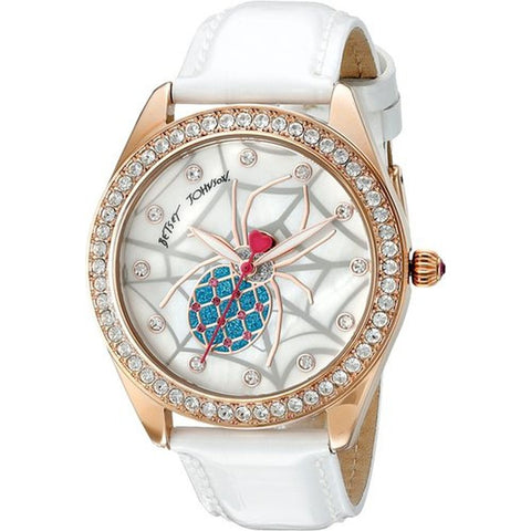 Betsey Johnson BJ00048-139 Women's Analog Display Quartz Watch, White Leather Band, Round 40mm Case