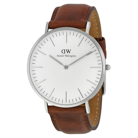 Daniel Wellington 0207DW St. Mawes Quartz Analog Men's Watch, Brown Leather Band, Silver 40mm Case