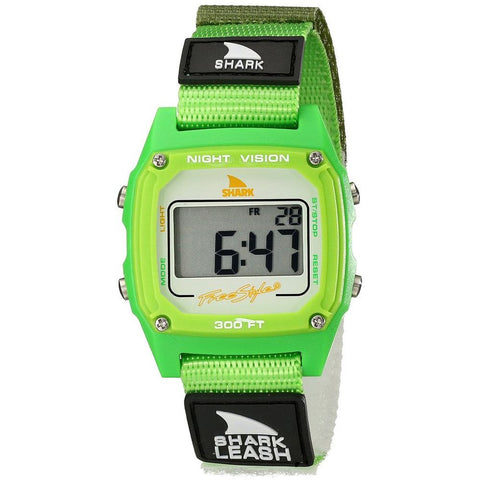Freestyle Unisex 102240 Shark Leash Digital Watch, Green Nylon Velcro Band, Square 38mm Case