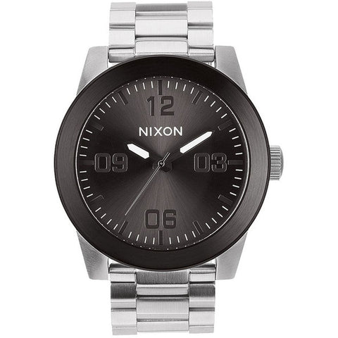 Nixon A3461762 Men's Corporal SS Silver/Gunmetal Analog Watch, Silver Stainless Steel Band, Round 48mm Case