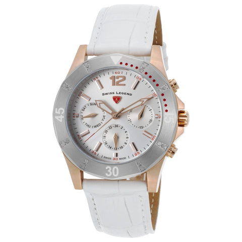 Swiss Legend SL-16016SM-RG-02-SB-WHT Paradiso Women's Analog Display Quartz Watch, White Leather Band, Round 38mm Case