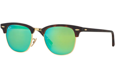 Ray-Ban RB3016 114519 Clubmaster Flash Lenses Sunglasses, Tortoise Frame, Green Flash 51mm Lenses