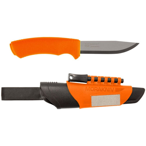 Morakniv M-12051 Bushcraft Survival Knife with Fire Starter and Sharpener, Orange