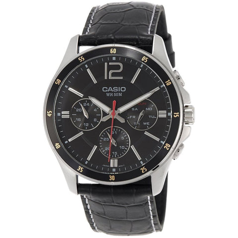 Casio MTP-1374L-1AVDF Men's Analog Chronograph Quartz Watch, Black Leather Band, Round 43.5mm Case