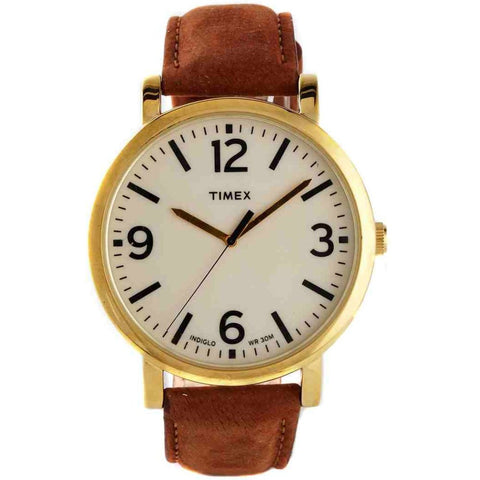 Timex T2P527 Originals Classic Analog Display Quartz Watch, Tan Leather Band, Round 42mm Case