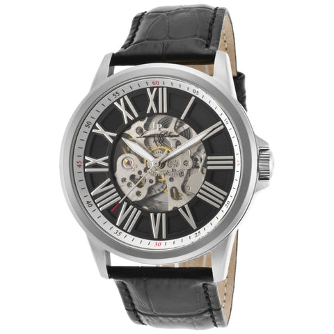 Lucien Piccard LP-12683A-01 Calypso Men's Analog Display Quartz Watch, Black Leather Band, Round 45mm Case
