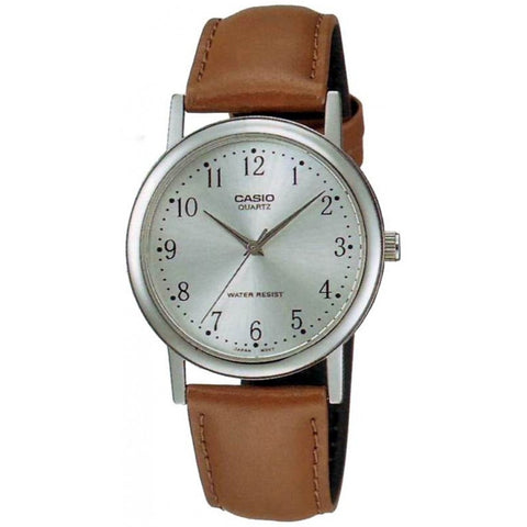 Casio MTP1095E-7B Men's Analog Display Quartz Watch, Brown Leather Band, Round 35mm Case