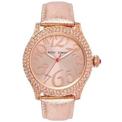 Betsey Johnson BJ00019-60 Women's Analog Display Quartz Watch, Metallic Rose Gold Leather Strap, Round 40mm Case