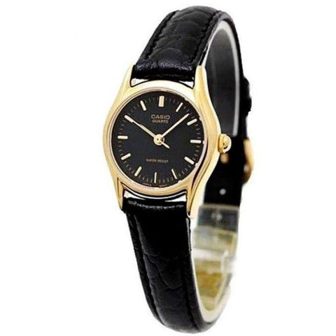 Casio LTP-1094Q-1ARDF Women's Dress Watch Analog Display Quartz Watch, Black Leather Band, Round 24mm Case