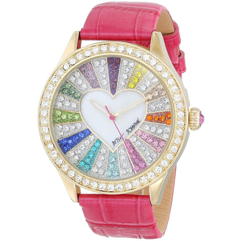 Betsey Johnson BJ00131-29 Women's Analog Display Quartz Watch - Pink Strap - Round 42mm Case