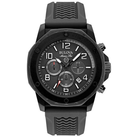 Bulova 98B223 Men's Marine Star Analog Display Quartz Watch, Black Rubber Band, Round 44mm Case