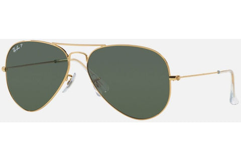 Ray-Ban RB3025 001/58 Aviator Classic Sunglasses, Gold Frame, Polarized Green Classic 62mm Lenses