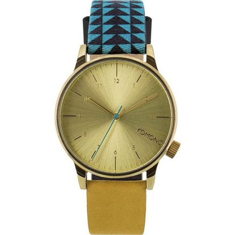 Komono KOM-W2205 Unisex Winston Galore Triangle Teal Analog Quartz Watch, Multicolor Leather Band, Round 41mm Case