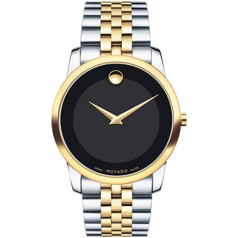 Movado 0606899 Museum Classic Analog Display Quartz Watch, Silver and Yellow Gold PVD-Finished Stainless Steel Band, Round 40mm Case