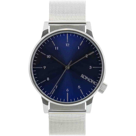 Komono KOM-W2353 Winston Royale Silver-Blue Analog Quartz Watch, Silver Stainless Steel Band, Round 41mm Case