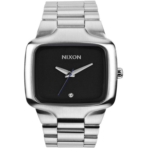 Nixon A487000 Men's Big Player Black Analog Watch, Silver Stainless Steel Band, Square 44mm Case
