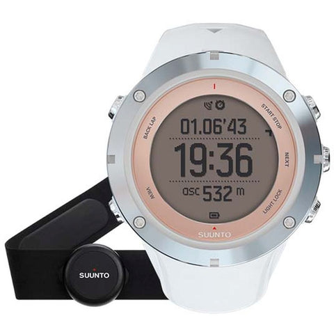 Suunto SS020672000 Ambit3 Sport Sapphire (HR) Digital Display Quartz Watch, White Silicone Band, Round 50mm Case