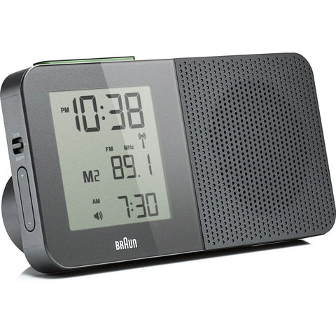 Braun BNC010GY-SRC LCD Display Radio Alarm Clock, Global Radio Controlled, Grey Rectangle Case