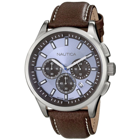Nautica N16694G NCT 17 Men's Analog Display Quartz Watch, Brown Polyurethane Band, Round 44mm Case